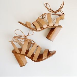 Banana Republic Strappy Tie Tan Block Heels